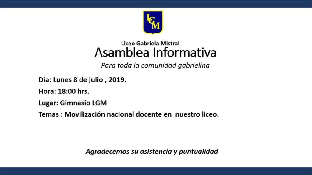 Viernes 05 de Julio invitación a la asamblea en Liceo.